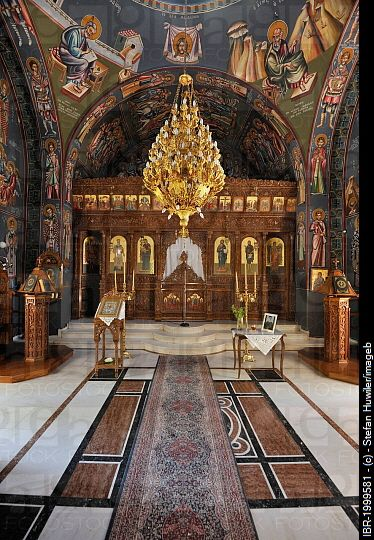 Interior, church of Agios Nektarios at Archipoli, Rhodes, Greece, Europe