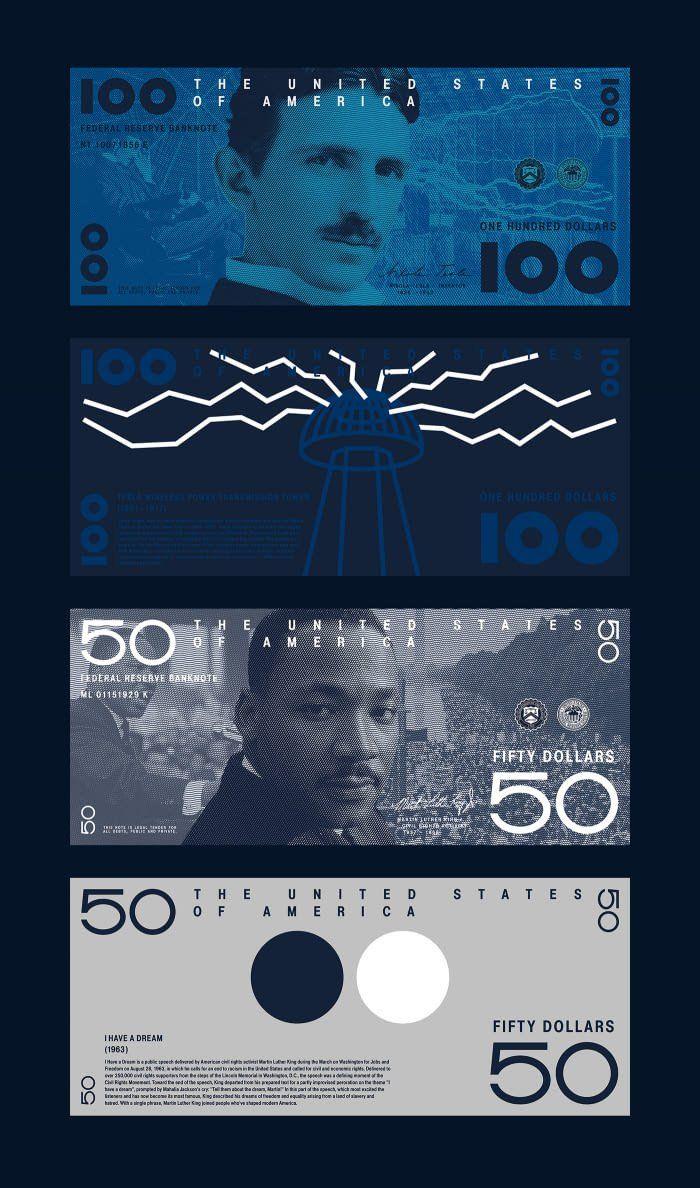 ¿Te gustaría usar dólares como este? Rediseño del dólar estadounidense con Nikola Tesla y Martin Luther King