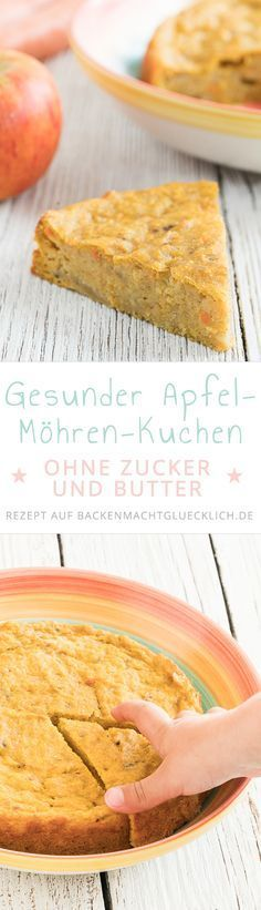 Dieser Apfel-Möhren-Kuchen ohne Zucker und Butter ist schön saftig und fruchtig. Der perfekte gesunde Kuchen für Babys, Kinder und alle, die gesund naschen wollen.