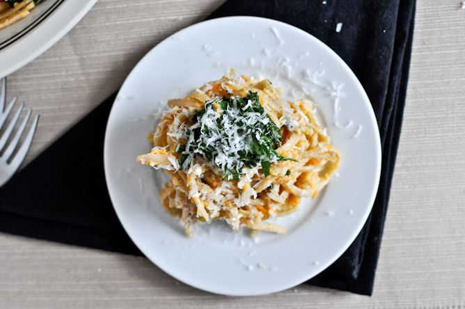 Sweet Potato Cream Pasta with Crispy Kale Recipe Main Dishes with sweet potatoes, olive oil, unsalted butter, shallots, garlic cloves, flour, skim milk, romano cheese, whole wheat pasta, kale leaves, toasted sesame oil, salt, pepper