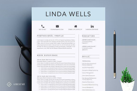 Resume/CV Template by A1RESUME on @creativemarket Professional printable resume / cv cover letter template examples creative design and great covers, perfect in modern and stylish corporate business design. Modern, simple, clean, minimal and feminine style. Ready to print us letter and a4 layout inspiration to grab some ideas. In psd, indd, docs, ms word file format.