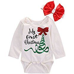 Newborn Baby Boy Girl Long Sleeve My First Christmas Romper Jumpsuit Outfits (6-12 Months, White)