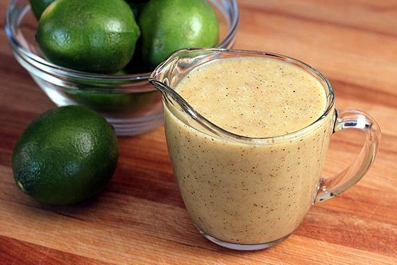 Honey Lime Vinaigrette. Made with fresh lime juice, honey, Dijon mustard, garlic powder, cumin, Kosher salt, ground black pepper, olive oil, canola oil.