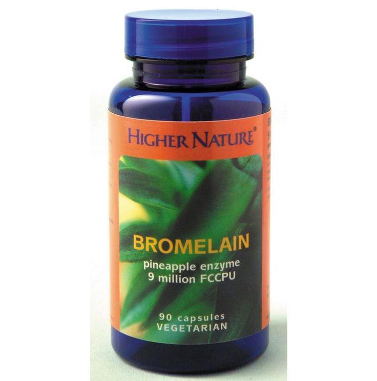 Bromelain 90 caps, Ισχυρό ένζυμο που παράγεται από τον καρπό και τον μίσχο του ανανά και αποτελεί μια από τις πιο αποτελεσματικές ουσίες για την πέψη των πρωτεϊνών προωθώντας την απορρόφησή τους και προσφέροντας ανακούφιση από την δυσπεψία. Εναλλακτική λύση της ασπιρίνης, ανακουφίζει από τον πόνο και έχει αντι-φλεγμονώδεις ιδιότητες. Μειώνει το άγχος, καθυστερεί τη γή-ρανση, αποτρέπει τη συγκέντρωση των αιμοπεταλίων η οποία είναι η μεγαλύτερη αιτία της εγκεφαλικής συμφόρησης, 30,75