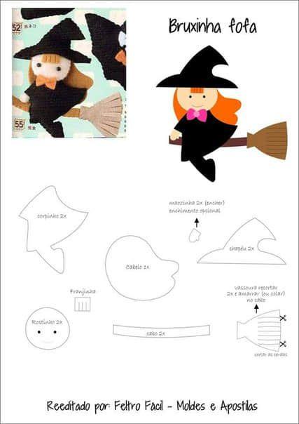 Moldes para hacer brujitas de fieltro para halloween