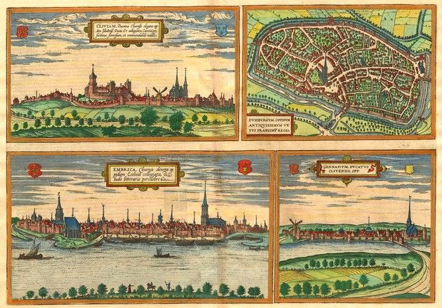 Antique Map of cities boardering the Rhine in the Duchy of Cleves-Julich -Berg. The Dukes  ran an itinerant Court processing between Dusseldorf, Berg, Duren and Xanten. Their lands spread across the most significant military and economic sites of Western Europe on the junction of the Rhine and the Lippe Rivers. The stronghold of Wesel lay within its borders. The family had strong family links with the Court of Burgundy.