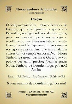 Oração De Nossa Senhora De Lurdes Orações Espiritualidad Frases