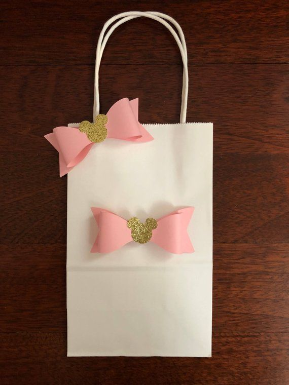 00765c95b6935 10 Minnie Mouse paper bow pink gold glitter cute birthday favor bag ...