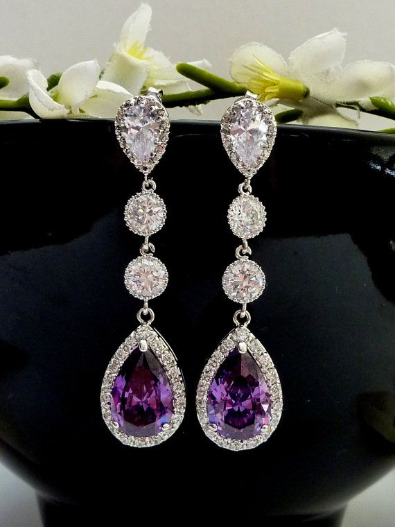 Wedding Bridal Earring Long LARGE Halo Amethyst by JCBridalJewelry, $62.00