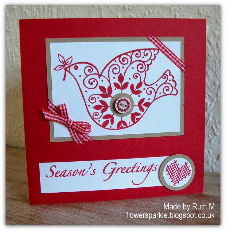 Flower Sparkle: Nordic Dove Season's Greetings Card - 52 {C}CT Sept Theme Challenge