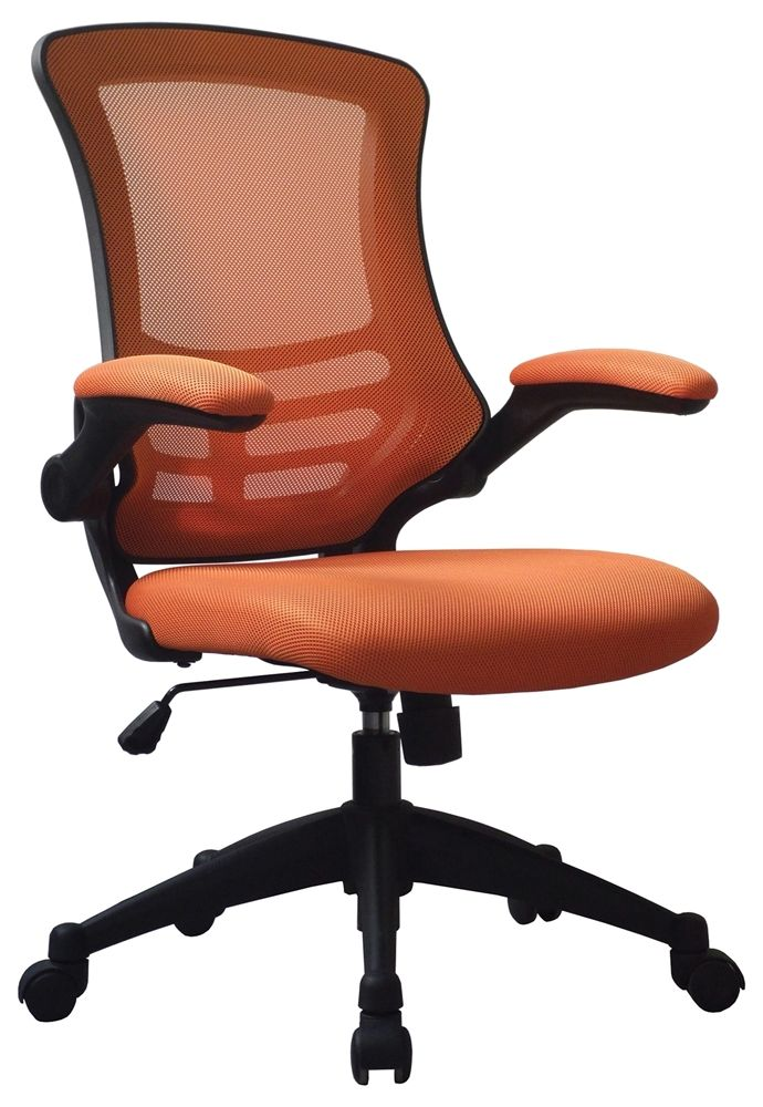 Orange Office chair company Luna Designer Mesh Chair with folding arms Breathable mesh back Airflow mesh seat Tilt mechanism lockable in the upright position Folding arms https://www.officechaircompany.co.uk/office-furniture-warehouse-luna-designer-mesh-chair-orange