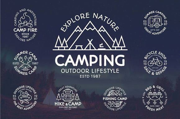 Camping emblem set by mira on @creativemarket