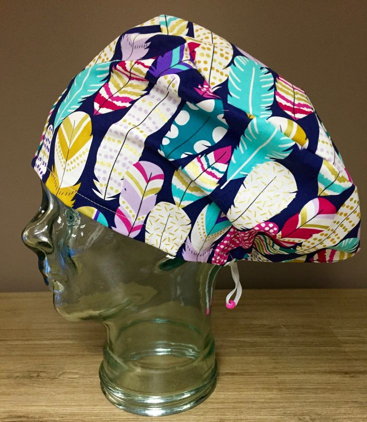 Vibrant Fuchsia, Teal, Purple & Gold Feathers on Navy Scrub Cap, Gorgeous Women's Modified Bouffant Surgical Scrub Hat, Custom Caps Company by CustomCapsCompany on Etsy