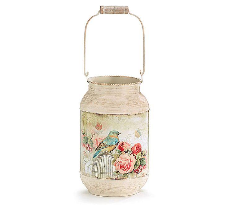 New Tin Bird & Roses Vintage Style Flower Vase burton+BURTON Table Centerpiece #burtonBURTON