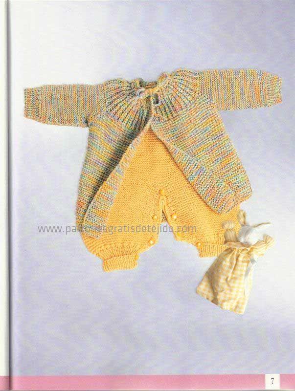 abrigo y enterito de bebe para tejer con dos agujas