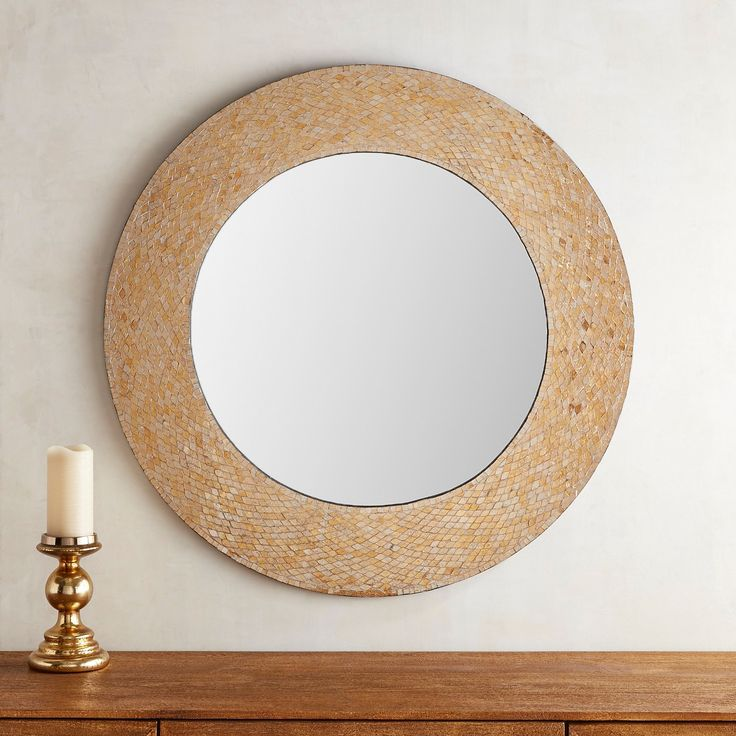 "Golden Mosaic 36"" Round Mirror"