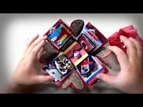Exploding Box Card Full Tutorial Sweetheart Surprise Theme - YouTube