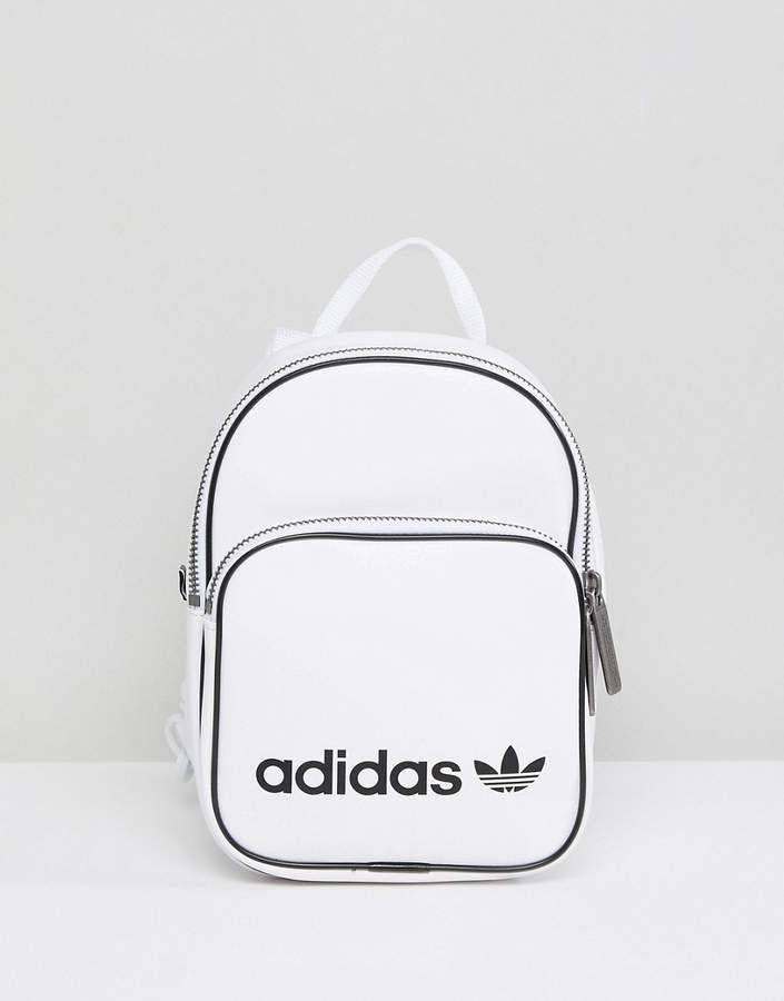 hot sale online 14dec d089b adidas Mini Backpack In White Faux Leather