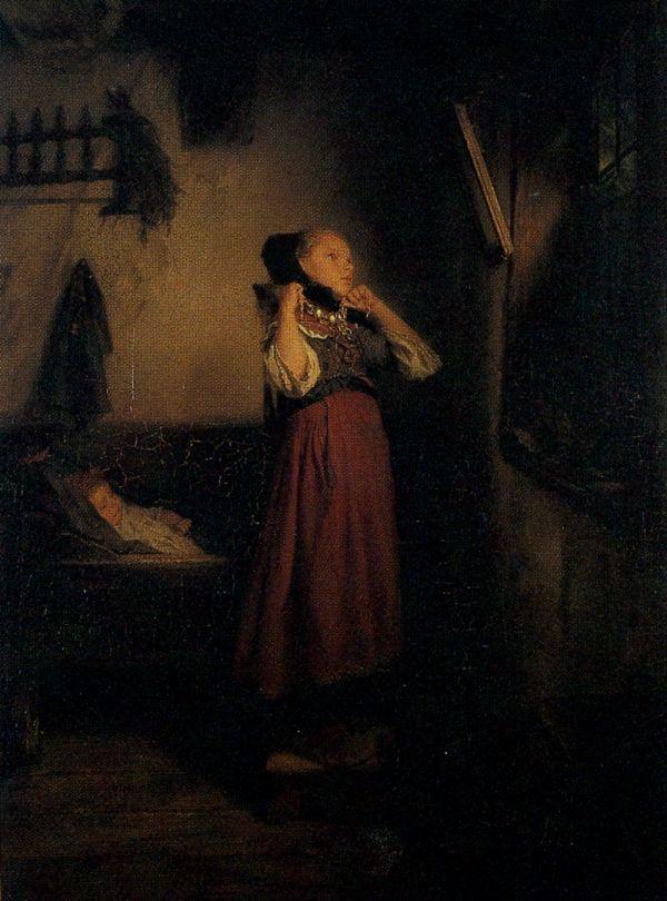 Selské děvče před zrcadlem -Quido Mánes
