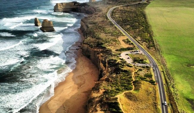 Great Ocean Road, Vic,sweeping beach-scapes and still quaint seaside towns.