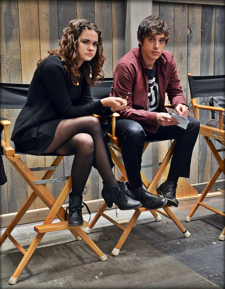 Maia Mitchell and David Lambert preparing for a scene on the set of The Fosters! brallie