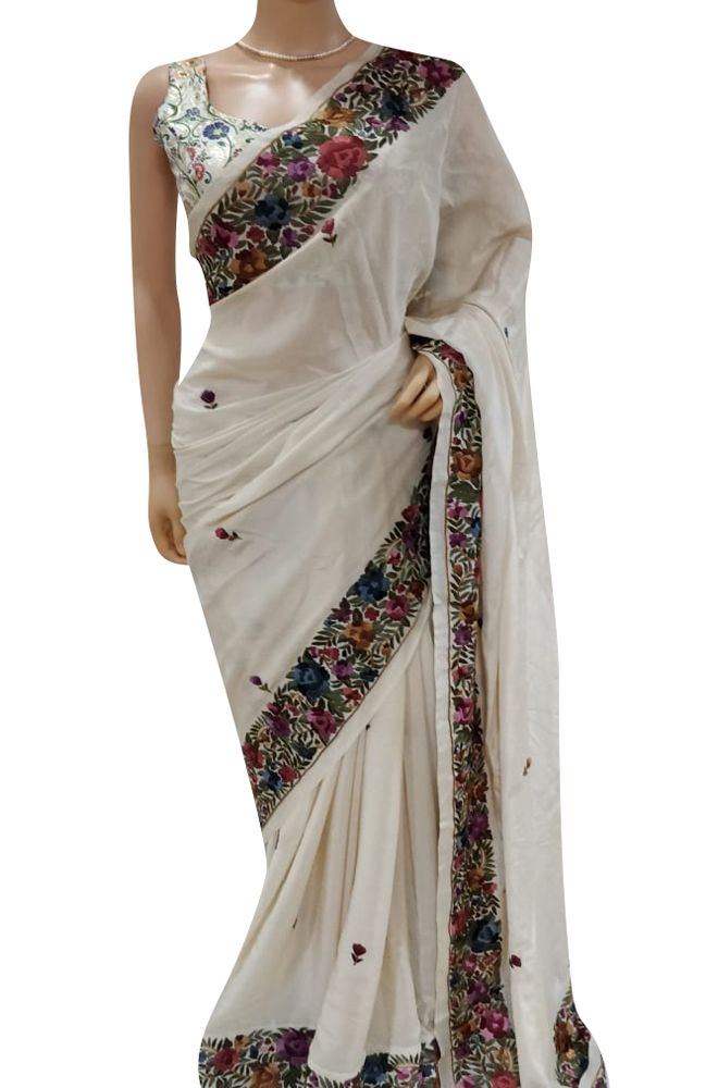 177db9125ce878 Off White Hand Embroidered Crepe Parsi Gara Saree With Multicolor Thread  Work Border