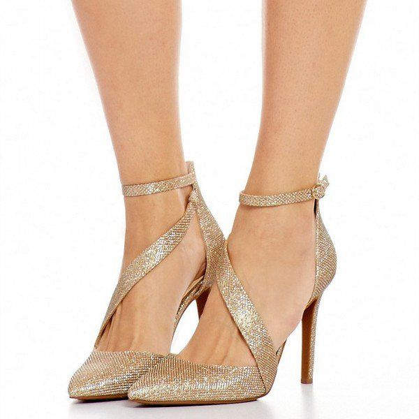 Women's Sequins Ankle Strap Pointed Toe Stiletto Heels Club