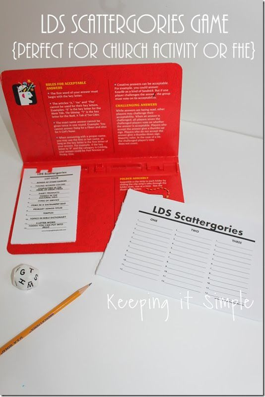 LDS Version of Scattergories- Perfect for church activity, young mens and young womens, activity days, cub scouts or a FHE activity