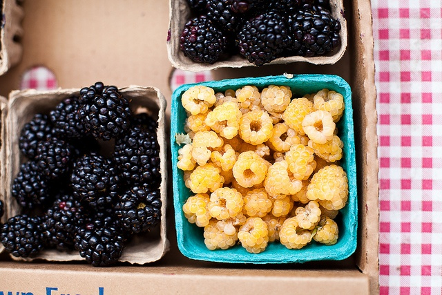 Blackberries and Golden Raspberries