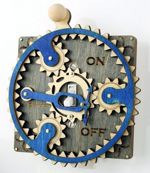 Blue Gray Planetary Gear Light Switch Plate by GreenTreeJewelry, $44.95