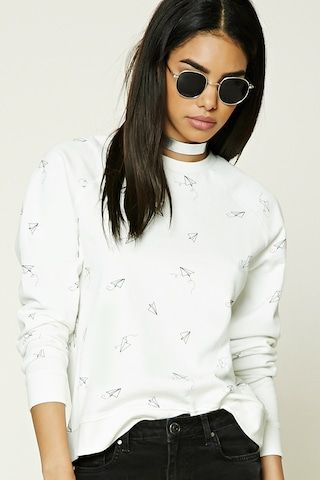 Paper Plane Graphic Sweatshirt