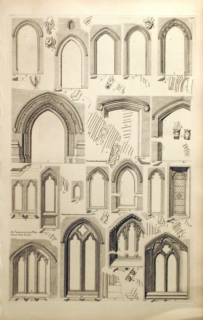1845 Rare Large English Antique Engraving of doorways and doors