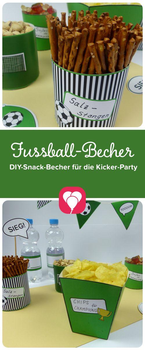 DIY-Vorlage für Fussball-Becher   Diese Fussball-Becher für alle Arten von  Snacks sind super einfach nachzubasteln und zaubern bei jeder  Kickerparty die perfekte Stimmung.  Schau gleich auf balloonas.com vorbei und lade sie Dir runter. In wenigen Schritten hast auch Du eine perfekte Fussball-Deko!  #balloonas #fussball #kicker #wm #wm2018 #deko #party #feiern