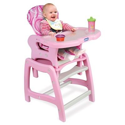 Badger Basket Pink High Chair with Play Table Conversion, Pink/White