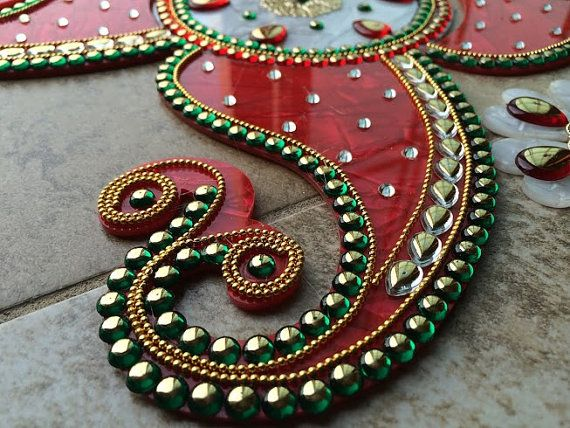 Kundan RangoliRangoliAcrylic floor art Indian by JustForElegance, $38.00