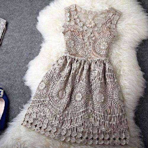 ALL SIZES! Crochet Tea Dress - $149
