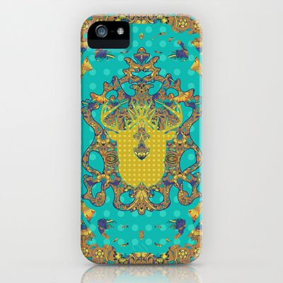 Arabic Marigold : Blue Polka iPhone & iPod Case by Geetika Gulia - $35.00