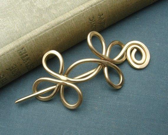 Keltische Double gekreuzt Schleifen Messing Schal Pin, Haarnadel, Pin Schal, Haarspange, Verbindungselement, Sweater Clip Verschluss Schmuck, Strickzubehör