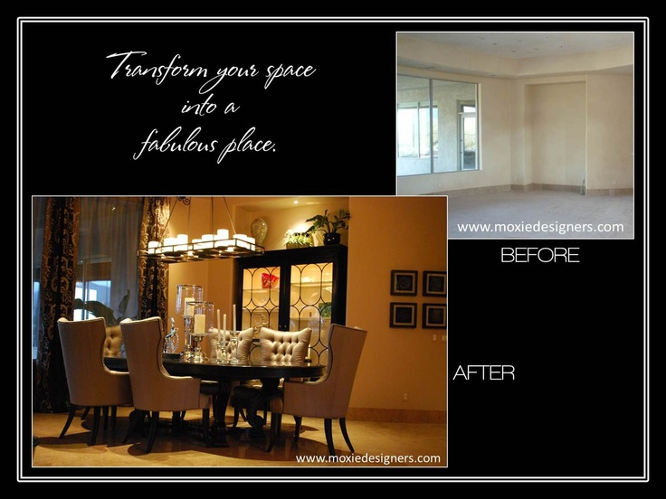 Interior Design make-over accentuating a transitional dining room with new paint, flooring and baseboards, furnishings, window treatments (aka window coverings, drapes or curtains), and complete dishes & accessories.