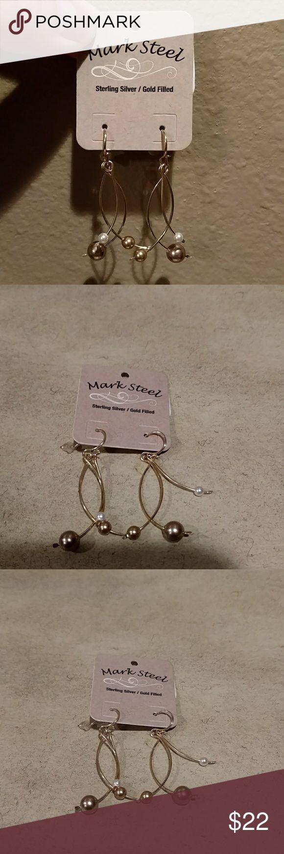 Mark Steel Earrings NEW! Gorgeous Sterling Silver gold filled earrings with pearls. These are new!! Purchased at a boutique in Texas. Mark Steel Jewelry Earrings