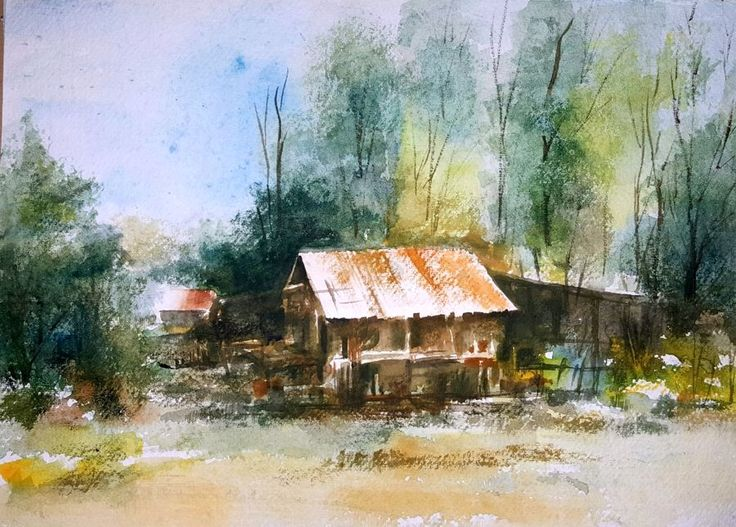 """Red Roof"", a water colour painting by a fine artist Bhanupratap Khare"
