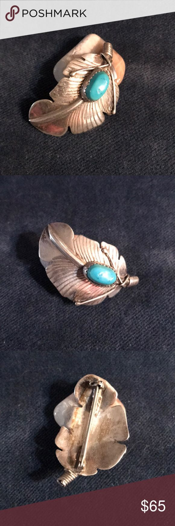 Native American Turquoise and Sterling Feather Large Old Pawn Sterling silver and Turquoise Feather Brooch.   Signed: this piece is not signed but does test as Sterling. Please see pictures for size. If you don't like my price make me a offer! Jewelry Brooches