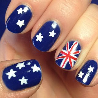Aussie nails! Other people thought it was supposed to be a cross  between the union jack and our stars and stripes,.. But the southern cross is on the thumb.. Australia. People. Educate yourselves. Pl