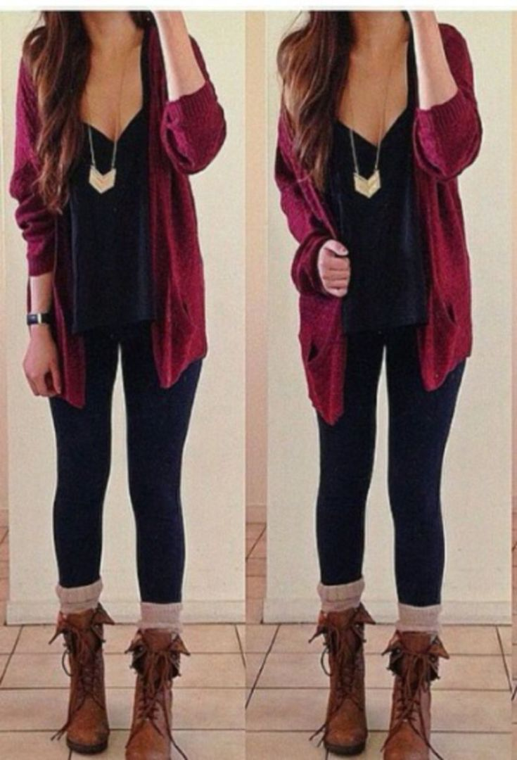 Burgundy Womens Jeans