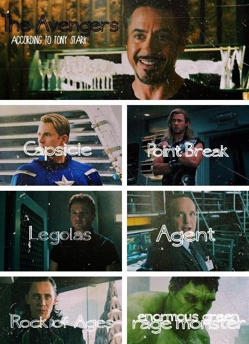 The Avengers..according to Tony StarkLoki, Marvel, Iron Man, Super Heroes, Ironman, Avengers Assembly, Tony Stark, Rocks Of Age, The Avengers