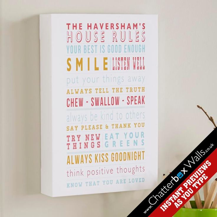 Personalised House Rules Word Art Canvas