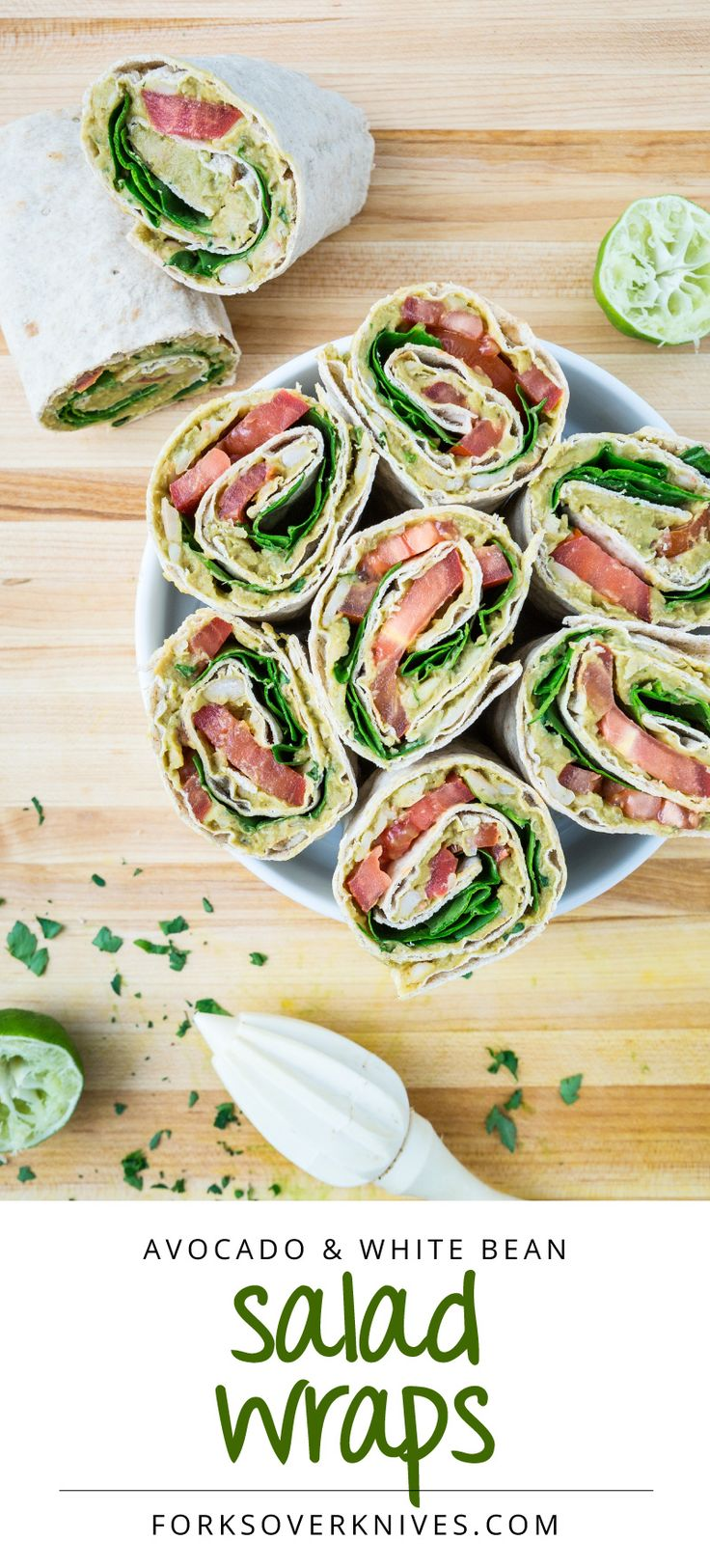 Avocado and White Bean Salad Wraps. Made with baby spinach, northern beans, tomatoes, lime juice, parsley, tamari (or soy sauce), spices, and wheat tortillas. Healthy lunch or dinner. #recipe