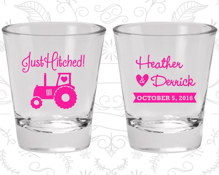 Just Hitched, Custom Glassware, Tractor, Country Rustic Shot Glasses, Rustic Shot Glasses, Barn Wedding Shot Glasses (82)