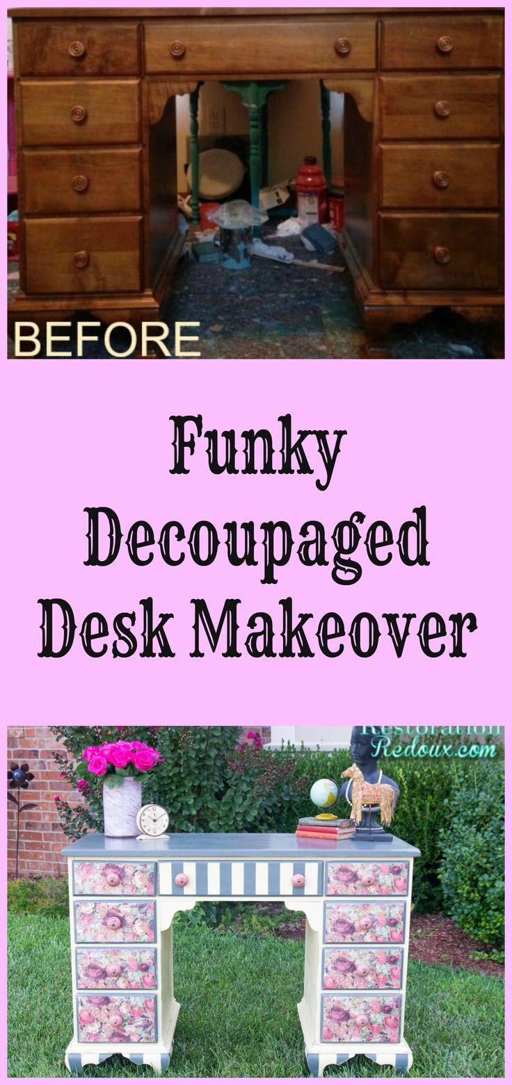 Funky Decoupaged Desk Makeover