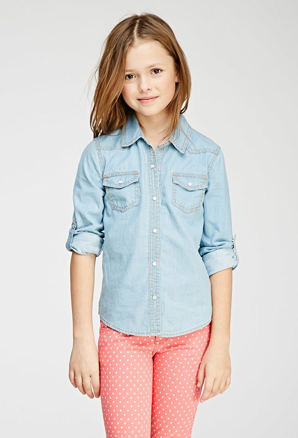 FOREVER 21 girls Chambray Western Shirt (Kids)